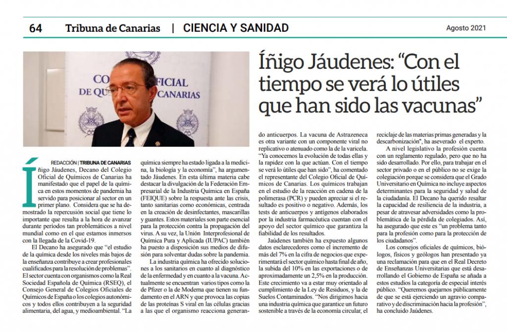 Entrevista al Decano del Colegio Oficial de Químicos de Canarias en el periódico Tribuna de Canarias.